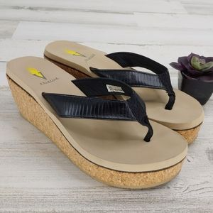 Volatile Black Sandals Wedge Flip Flops